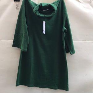 Zara Trafaluc S/S18 M Green Turtle Neck Midi Dress